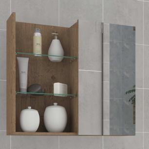 Espelheira para Banheiro 100% MDF Jasmin 60 Cm Amendoa - Mgm