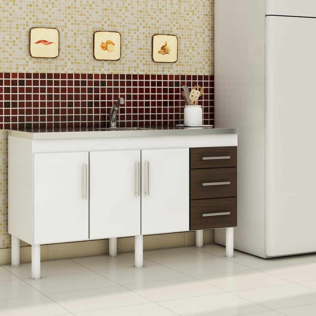 Balcão de cozinha Roma Para Pia 150 Cm  - Branco/Castanho - Mgm