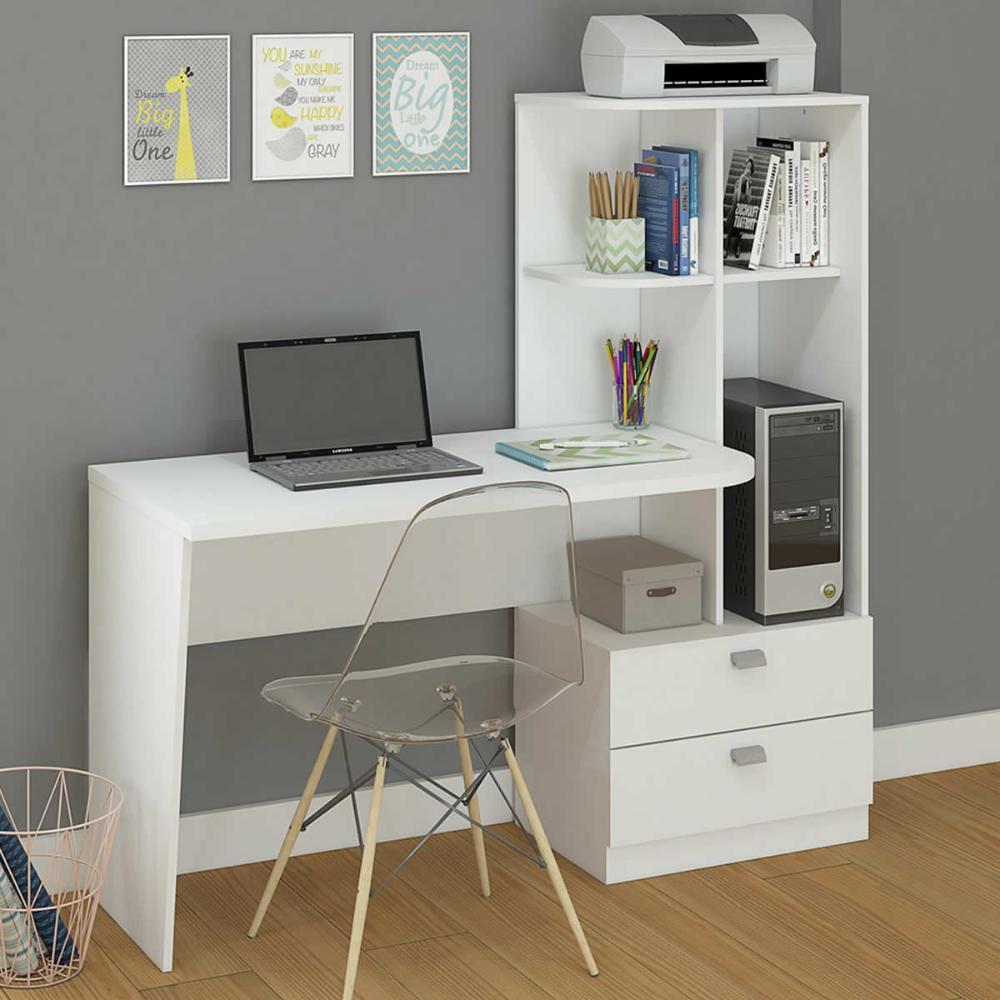 Escrivaninha/Mesa para Computador Com Estante Elisa Branco - Permobili