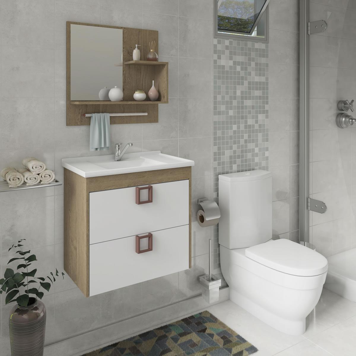 Gabinete De Banheiro 100% Mdf Lirio 59 Cm Com Espelho Carvalho/Branco - Mgm