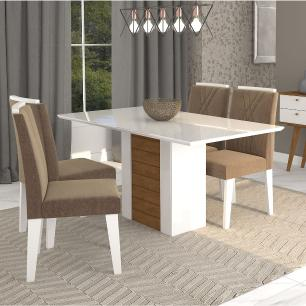 Sala Jantar Rafaela 130cm x 80cm Com 4 Cadeiras Nicole Branco Savana/Pluma - Cimol