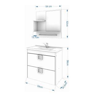Gabinete De Banheiro 100% Mdf Lirio 59 Cm Com Espelho Cafe/Off White - Mgm