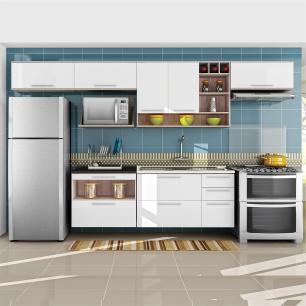 Cozinha Completa Class 1 - Branco Amadeirado - Nesher