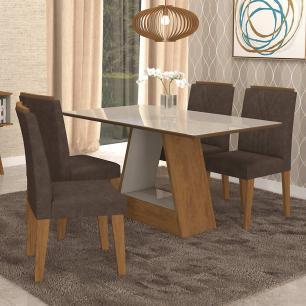 Sala Jantar Alana 130cm x 80cm com 4 Cadeiras Nicole Savana/Off White/Cacau - Cimol