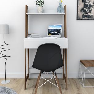 Escrivaninha estante Urban 1 Gaveta - Branco/Castanho - Appunto