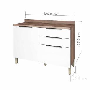 Balcão de Cozinha Donna 1 Porta 3 Gavetas 120 cm - Nogal/Branco - Nesher