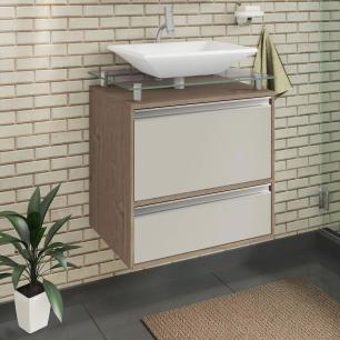 Gabinete De Banheiro 100% Mdf Faro 60 Cm Sobrepor Amendoa/Off White - Mgm