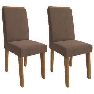 Sala Jantar Rafaela 130 Cm x 80 Com 4 Cadeiras Milena C/Moldura Savana/Off White/Chocolate - Cimol