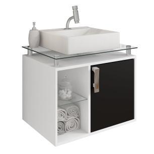 Gabinete De Banheiro 100% Mdf Porto 60 Cm Sobrepor Branco/Preto - Mgm