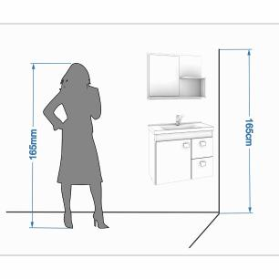 Gabinete De Banheiro 100% Mdf Hortencia 55 Cm Com Espelho Branco - Mgm