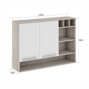 Armário de cozinha Class 2 Portas 120 cm Nicho/Adega - Branco/Amadeirado - Nesher