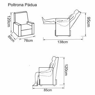 Poltrona Reclinavel Padua Tecido Korino 420 - Preto - Delare