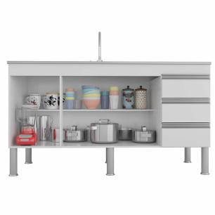 Balcao De Cozinha 100% Mdf Ibiza Para Pia 144 Cm Amendoa/Off White - Mgm