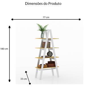 Estante Escada 4 Prateleiras - Branco/Amarelo - Movelbento