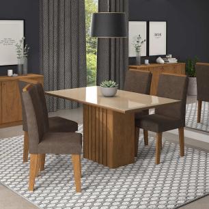 Sala Jantar Ana 130 Cm x 80 Cm Com 4 Cadeiras Tais C/Moldura Savana/Off White/Cacau - Cimol