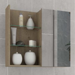 Espelheira para Banheiro 100% MDF Jasmin 60 Cm Carvalho - Mgm