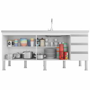 Balcao De Cozinha 100% Mdf Ibiza Para Pia 174 Cm Amendoa/Branco - Mgm