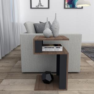 Mesa De Canto Para Sala - Nogueira/Preto - Appunto