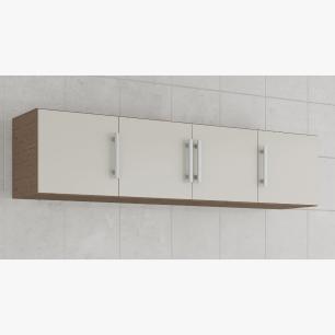 Armario De Cozinha Aereo 100% Mdf Flex 174 Cm Amendoa/Off White - Mgm