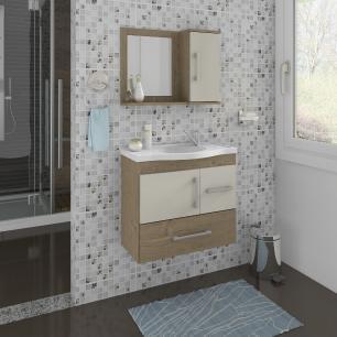 Gabinete De Banheiro 100% Mdf Fortaleza 65 Cm Com Espelho Carvalho/Off White - Mgm