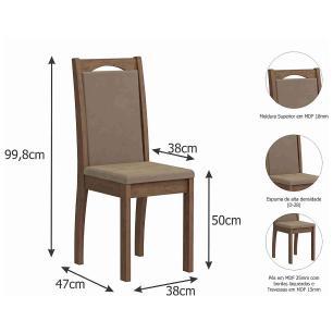 Sala Jantar Luana 100 Cm x 100 Com 4 Cadeiras Livia Savana/Sued Marfim - Cimol