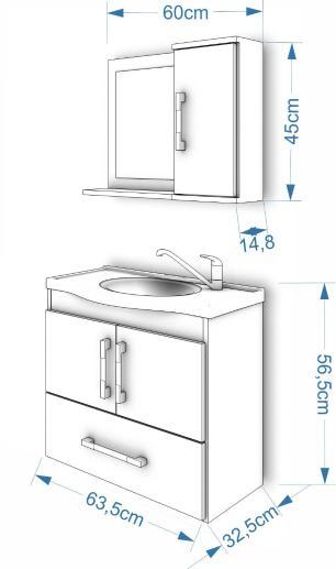 Gabinete De Banheiro 100% Mdf Atenas 65 Cm Com Espelho Cafe/Branco - Mgm