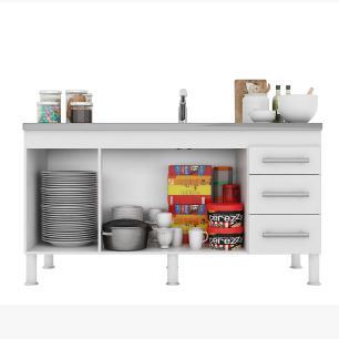 Balcao De Cozinha 100% Mdf Flex 144 Cm Branco/Café - Mgm