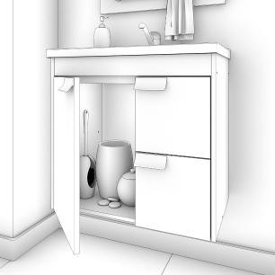 Gabinete De Banheiro 100% Mdf Tulipa 59 Cm Com Espelho Carvalho/Branco - Mgm