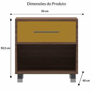 Meas de Cabeceira 1 Gaveta E 1 Nicho Modern - Carvalho/Amarela - Primolar