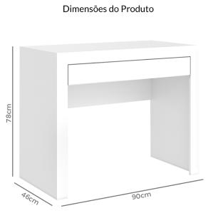 Mesa Computador 1 Gaveta - Branco  - Movelbento