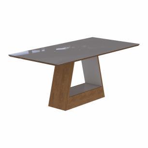 Sala Jantar Alana 180 Cm x 90 Cm Com 6 Cadeiras Milena C/Moldura Savana/Off White/Pluma - Cimol