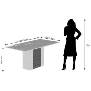 Sala Jantar Rafaela 130cm x 80cm 4 Cad. Elisa Savana/Off White/Cacau - Cimol
