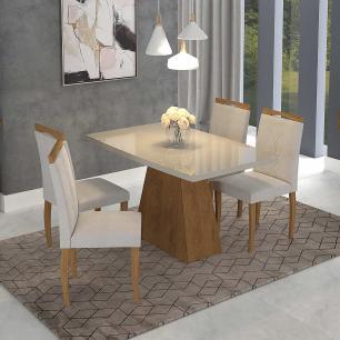 Sala Jantar Helen 130 Cm x 80 Cm Com 4 Cadeiras Laura Savana/Off White/Madeira/Aspen - Cimol