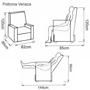 Poltrona Reclinável Veneza - Tecido Veludo Austin Areia 1100 - Delare