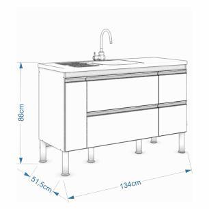 Balcao De Cozinha 100% Mdf Prisma Para Pia 134 Cm Branco/Café - Mgm