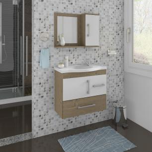 Gabinete De Banheiro 100% Mdf Fortaleza 65 Cm Com Espelho Carvalho/Branco - Mgm