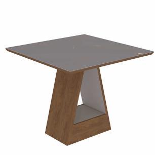 Sala Jantar Alana 95cm x 95cm Com 4 Cadeiras Nicole Savana Off White/Cacau - Cimol