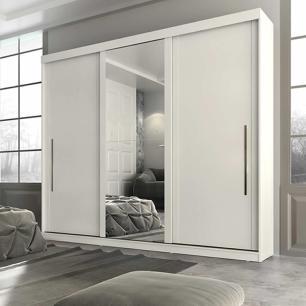 Roupeiro Ravena Plus 3 Portas Slide - 100% MDF - Com Espelho - Branco - Panan