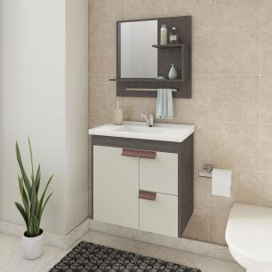 Gabinete De Banheiro 100% Mdf Tulipa 59 Cm Com Espelho Cafe/Off White - Mgm
