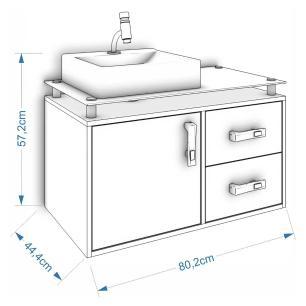 Gabinete De Banheiro 100% Mdf Evora 80 Cm Sobrepor Amendoa/Branco - Mgm