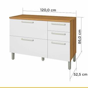 Balcão de Cozinha Burguesa 2 Portas 3 Gavetas 120 cm - Freijo/Branco - Nesher