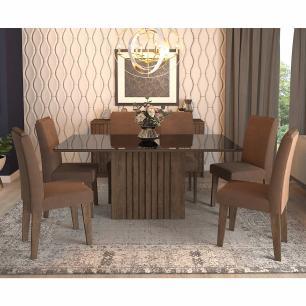 Sala Jantar Ana 180 Cm x 90 Cm Com 6 Cadeiras Tais C/Moldura Marrocos/Preto/Chocolate - Cimol