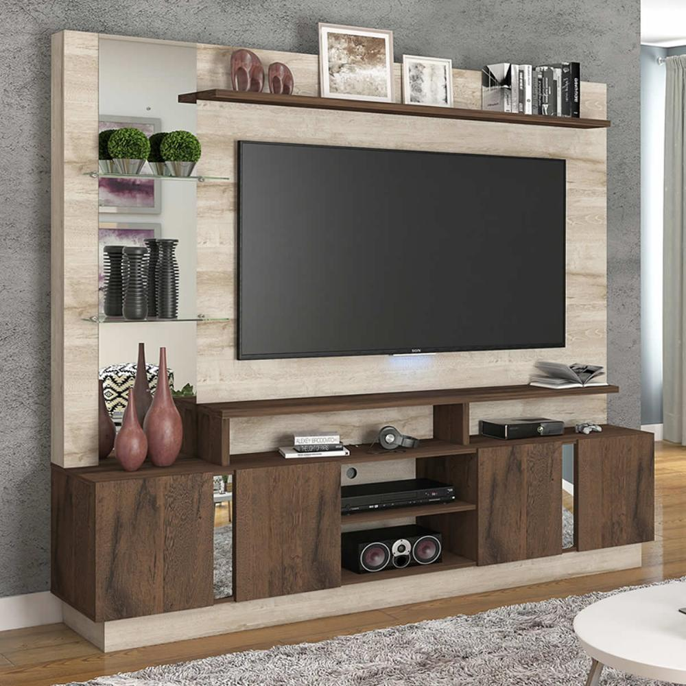 Estante Home 4 Portas Painel para TV até 55 Polegadas com Espelho Munique Rustico/Cafe - Permobili