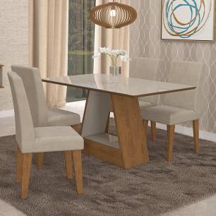 Sala Jantar Alana 130cm x 80cm Com 4 Cadeiras. Milena Savana/Off White/Sued Bege - Cimol