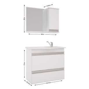 Gabinete De Banheiro 100% Mdf Grecia 65 cm Com Espelho - Branco/Preto - Mgm