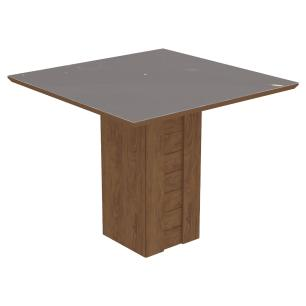 Sala Jantar Rafaela 95 Cm x 95 Com 4 Cadeiras Milena C/Moldura Savana/Off White/Chocolate - Cimol