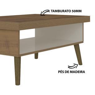 Mesa Centro Lucca - Pinho/Off White - Artely