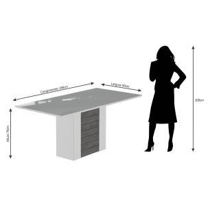 Mesa Rafaela 180cm x 90cm - Branco/Savana - Cimol