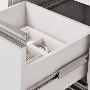 Balcao De Cozinha 100% Mdf Prisma Para Pia 134 Cm Amendoa/Branco - Mgm