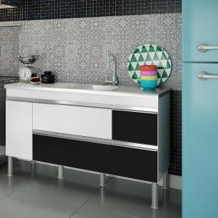Balcao De Cozinha 100% Mdf Prisma Para Pia 144 cm - Branco/Preto - Mgm